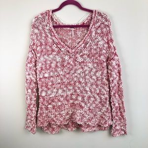 Free People Open Knit Vneck Linen Blend Sweater